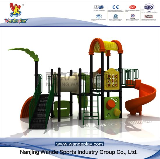 Outdoor Cartoon Playground Equipment with Plastic Slides Amusement Park