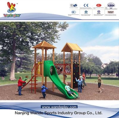 What are the precautions when installing outdoor playground equipment?